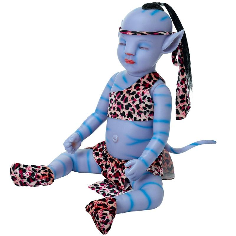 20 Inch Reborn Baby Doll 50cm Lifelike Newborn Sweet Blue Baby Boy Night Light Full Vinyl Doll Toy for Children Christmas Gift
